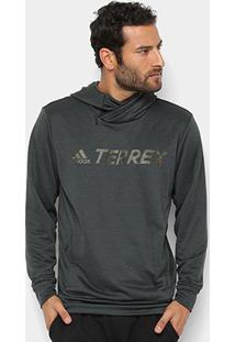 Blusa Adidas Logo Hood Masculina - Masculino-Cinza