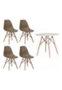 Conjunto 4 Cadeiras Eiffel Eames Nude + 1 Mesa Eames 80Cm Branca Base Madeira Sala Cozinha