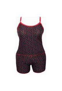 Baby Doll Plus Size Em Liganete Estampado O43 Preto Variado 46