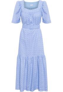 Vestido Feminino Longuete Decote Quadrado - Azul