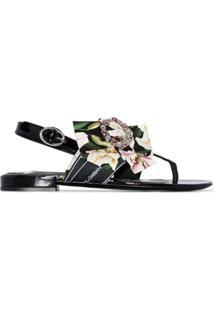 Dolce & Gabbana Sandália Flat Floral - Preto