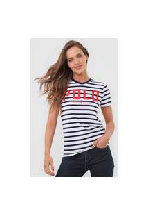 Camiseta Polo Ralph Lauren Listrada Branca/Azul-Marinho