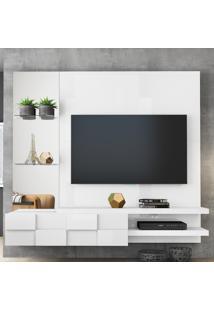 Painel Turim Para Tv Até 50' Com Prateleiras E Espelho Branco Laca Dj Móveis