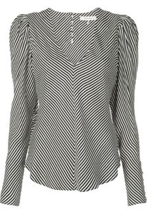Frame Striped Puff-Shoulder Blouse - Preto