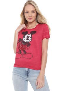 Blusa Cativa Disney Mickey Paetê Vermelha/Branca