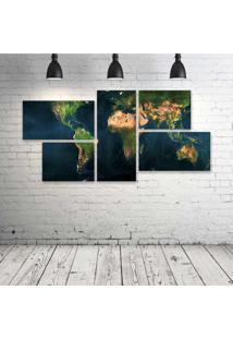 Quadro Decorativo - Mapa-Mundi - Composto De 5 Quadros