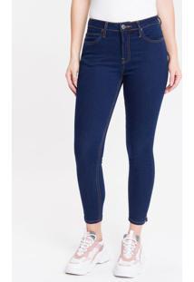 Calça Jeans Feminina Five Pockets Super Skinny Barra Lateral Cintura Média Azul Marinho Calvin Klein - 34