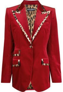 Dolce & Gabbana Blazer Com Acabamento De Estampa De Leopardo - Vermelho