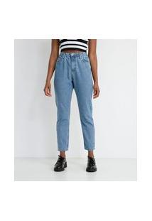 Calça Mom Jeans Com Elástico Na Cintura | Blue Steel | Azul | 34