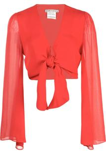 Alice+Olivia Blusa Cropped Prija Com Amarração - Vermelho