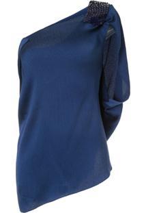 Roland Mouret Blusa Assimétrica 'Heartwell' - Azul