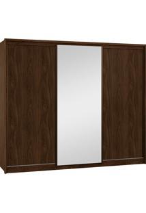 Guarda Roupa New Vêneto 3 Portas Deslizantes Nocciola C/ Espelho Móveis Fazzio Marrom