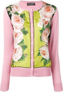 Dolce & Gabbana Cardigan Com Recorte De Estampa - Rosa