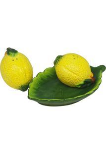 Conjunto Saleiro E Pimenteiro Cerâmica Com Bandeja Lemons - Bon Gourmet - Branco