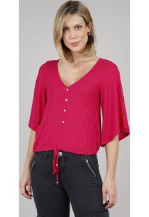 Blusa Feminina Com Botões E Cordão Manga Curta Decote V Rosa