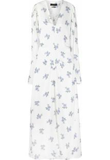 Isabel Marant Vestido Gola V Com Estampa Floral - Branco