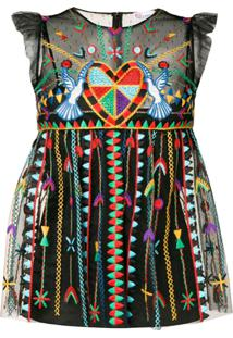 Red Valentino Vestido Bordado 'Love Celebration' - Preto