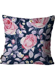 Capa Para Almofada Premium Cetim Mdecore Floral Azul 45X45Cm