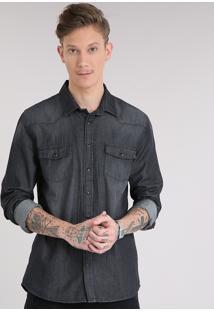 Camisa Jeans Masculina Com Bolsos Manga Longa Preta