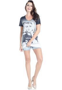 Camiseta Douglas Harris Estampa Retrô Cinza