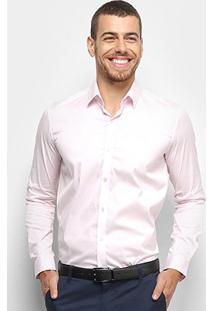 Camisa Lacoste Slim Fit Com Logo Masculina - Masculino-Rosa
