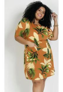 Vestido Curto Folhagem Com Bolso Plus Size