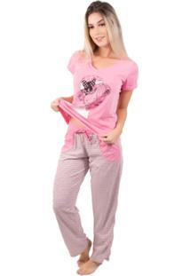 Pijama Feminino Longo Alice - Feminino-Rosa