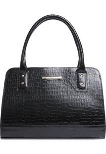 Bolsa Em Couro Croco Com Bag Charm- Preta & Dourada-Di Marlys
