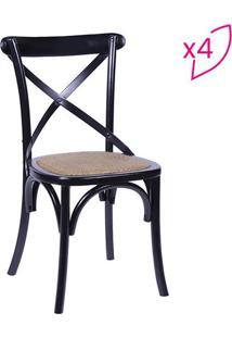 Jogo De Cadeiras Cross- Preto & Bege Escuro- 4Pã§S