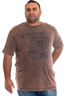 Camiseta Konciny Manga Curta Plus Size Marrom Claro