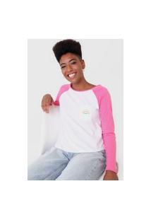 Camiseta Roxy Vintage Crystal Seas Branca/Rosa