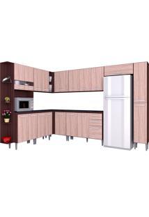Cozinha Compacta 10 Peças Karina - Poquema - Capuccino / Amendoa