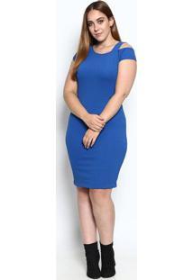 Vestido Com Recorte- Azul- Mirasulmirasul