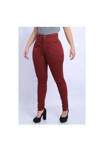 Calça Jeans Sarja Feminina Cintura Alta Frozini Skinny Bordo Vinho