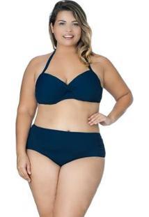 Calcinha Plus Size Drapeada Agridoce Marinho - Feminino-Azul