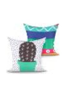 Jogo De Capa De Almofada Para Sala Estampada Verde Cacto Decorativa Kit Com 2 Unidades 45Cm X 45Cm Com Zíper