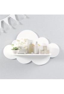 Prateleira Nuvem Branca Quarto Bebê Mdf G 60Cm Grão De Gente Branco
