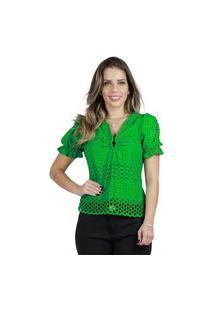 Blusa Mamorena Laise Cropped Barrado Verde