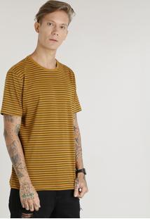Camiseta Masculina Básica Listrada Manga Curta Gola Careca Mostarda
