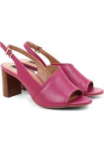Sandália Couro Jorge Bischoff Salto Grosso Assimétrica Feminina - Feminino-Pink