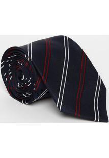 Gravata Tradicional Listrada - Azul Marinho & Vermelha