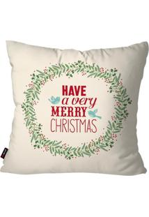 Capa De Almofada Pump Up Decorativa Avulsa Natalina Have A Very Merry Christmas Branco 45X45Cm