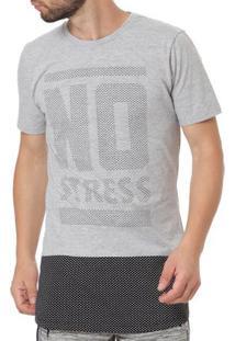 Camiseta Manga Curta Alongada Masculina No Stress Cinza