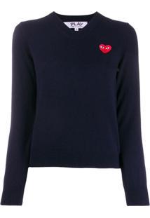 Comme Des Garçons Play Heart Embroidery Slim-Fit Jumper - Azul