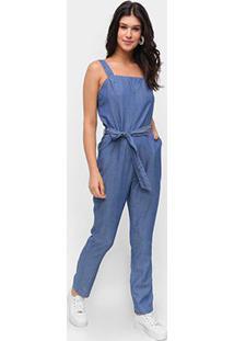 Macacão Jeans Influencer Longo Amarração - Feminino-Azul
