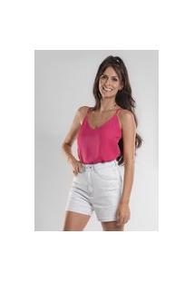 Blusa Bl0010 Crepe Com Alca Fina Traymon Pink