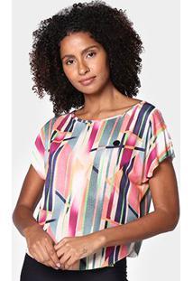 Blusa Colcci Bata Assimétrica Feminina - Feminino-Rosa+Verde