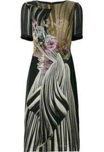 Alberta Ferretti Vestido Midi Floral - Preto