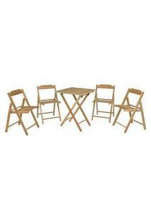Conjunto De Mesa Com Cadeiras Tramontina Beer Teca 5 Peças Sd3005