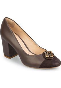 Sapato Tradicional Em Couro Com Tag - Marrom Escurocapodarte